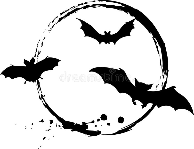 Halloween bats. Grungy design on white background