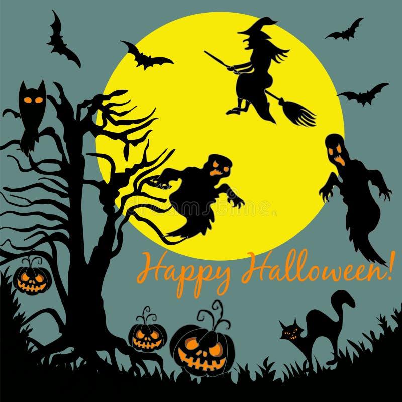 Halloween-Baum-Fliegen-Hexen-Geist in Mond-Nacht stock abbildung