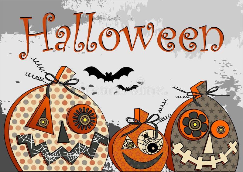 Halloween Bawi się stylizowanej bani na pomarańczowym tle z inskrypcją i sylwetek nietoperze ilustracja wektor