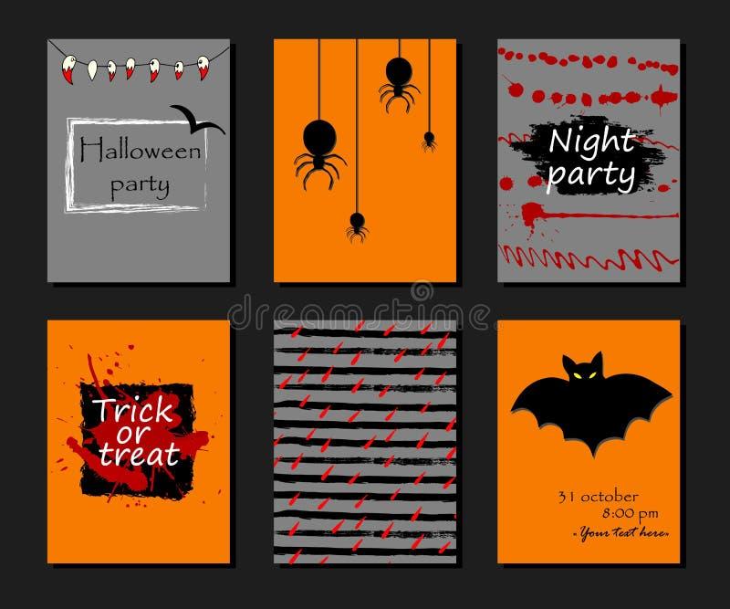 Halloween bawi się zaproszenie, kartka z pozdrowieniami, ulotka, sztandar, plakatowi szablony Wręcza patroszonych tradycyjnych sy ilustracja wektor
