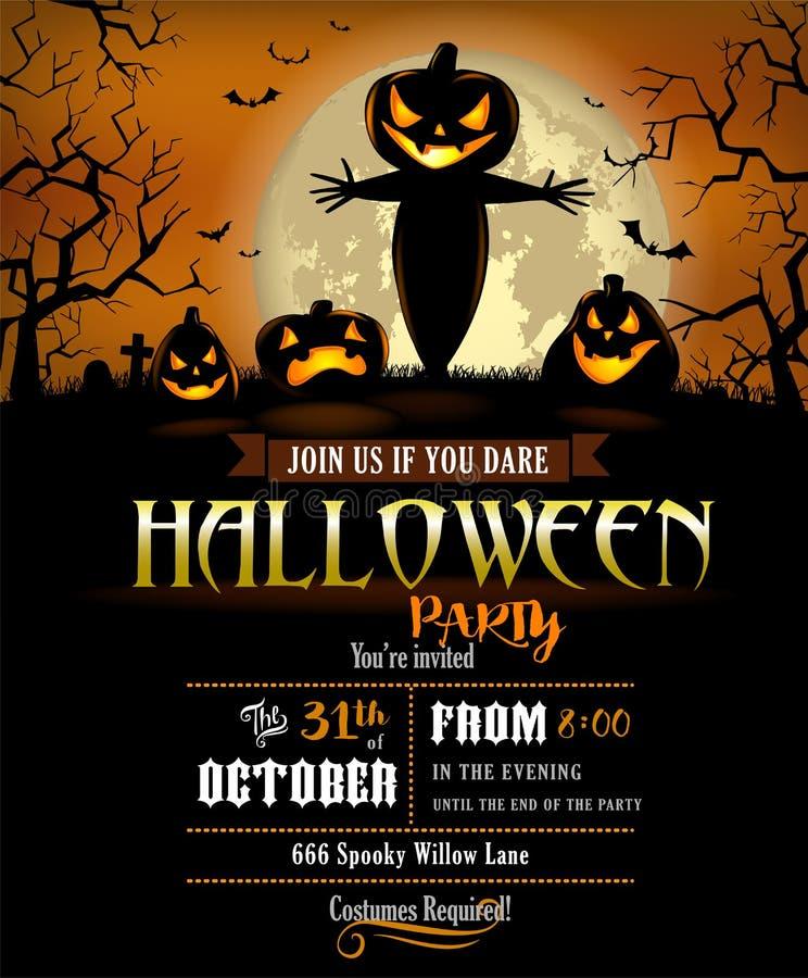 Halloween Bawi się zaproszenie z okropnymi baniami i strach na wróble ilustracji