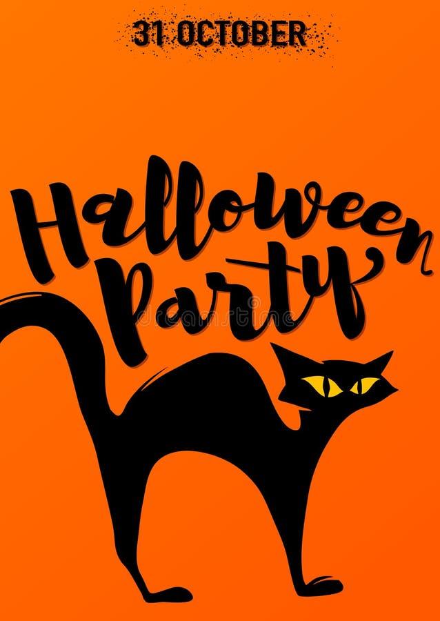 Halloween bawi się zaproszenie z strasznym czarnym kotem wysklepiającym z powrotem ilustracji