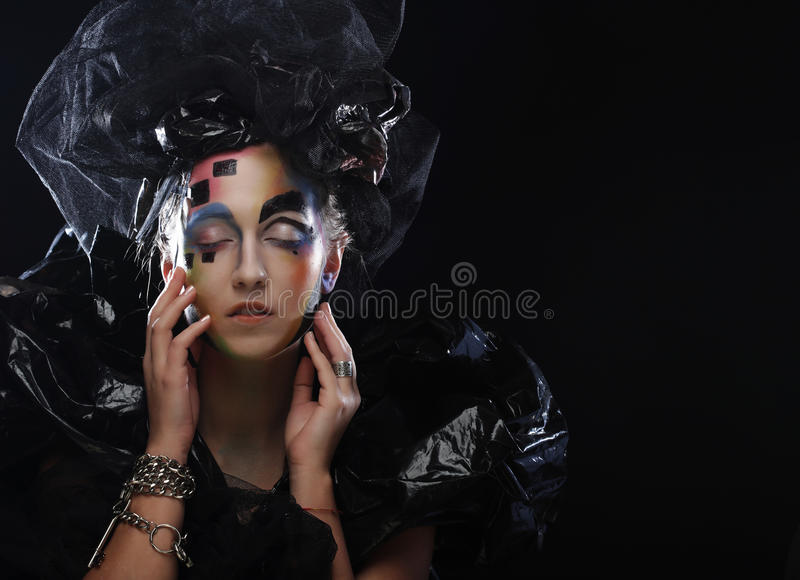 Halloween Beauty style woman makeup. Dark style stock images