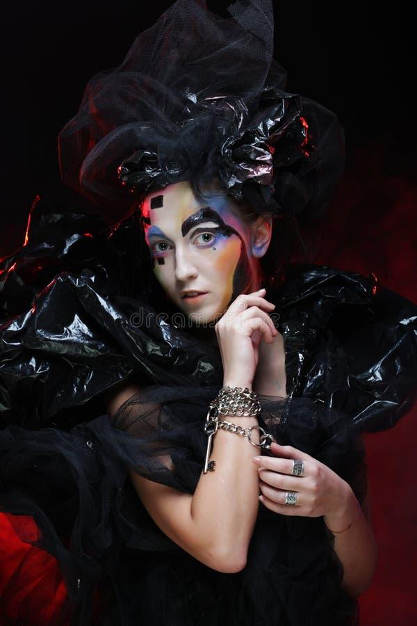 Halloween Beauty style woman makeup. Dark style royalty free stock photos