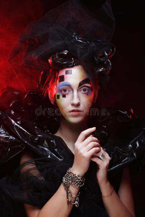 Halloween Beauty style woman makeup. Dark style royalty free stock images