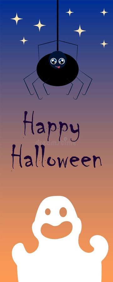 Halloween-beeld met spook en spin Verticale illustratie voor banner of referentie royalty-vrije illustratie