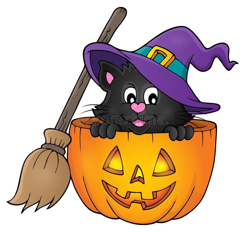 Halloween-beeld 1 van het kattenthema stock illustratie