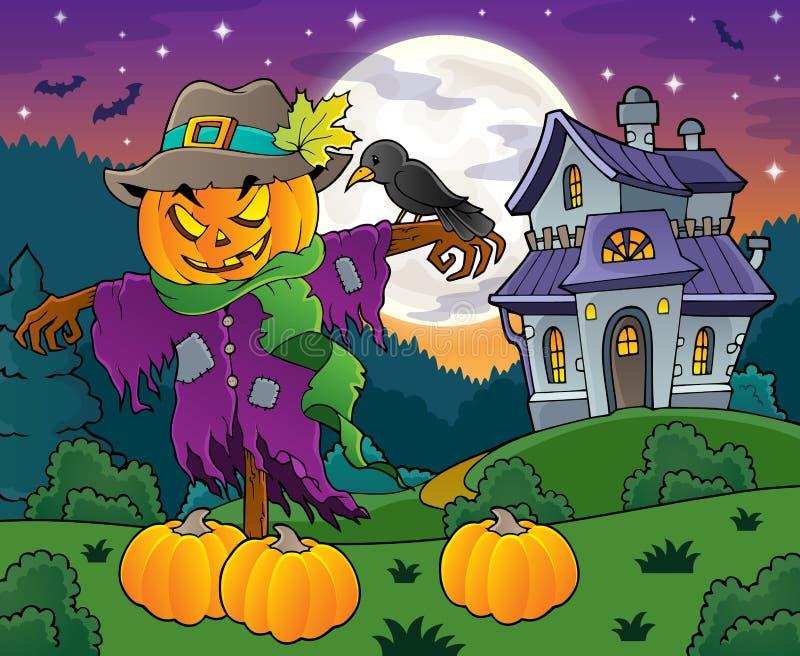 Halloween-beeld 4 van het vogelverschrikkerthema vector illustratie