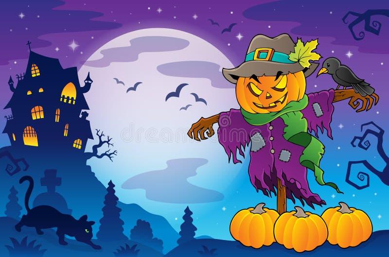 Halloween-beeld 5 van het vogelverschrikkerthema stock illustratie