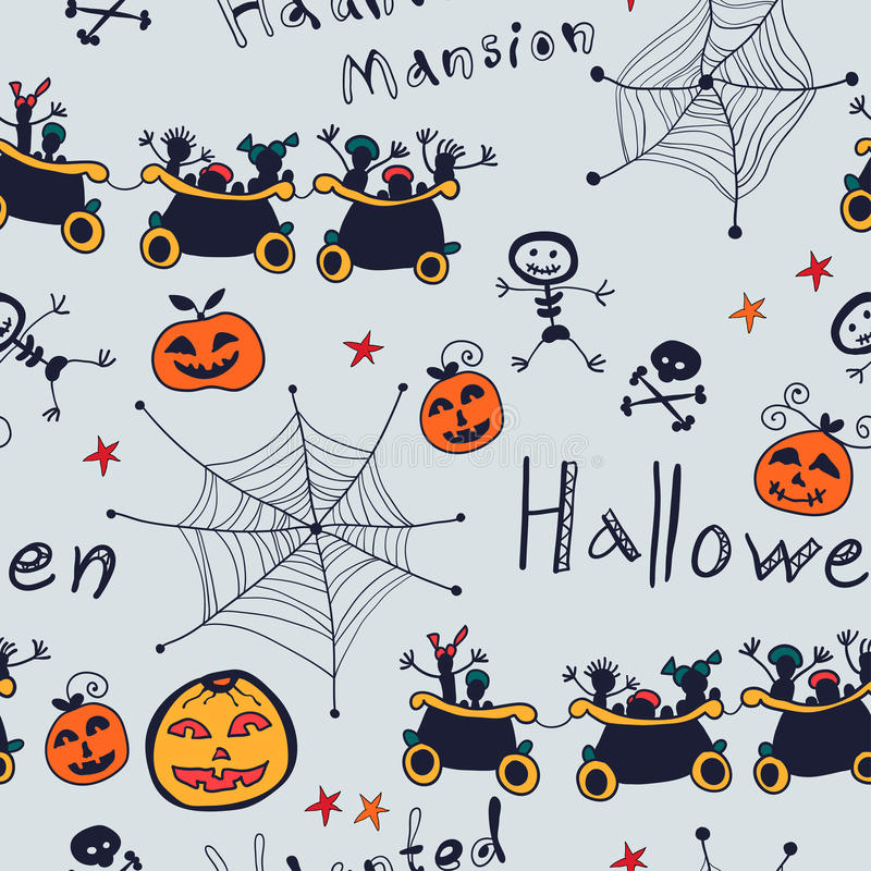 Halloween-beeldverhaal naadloos retro patroon vector illustratie