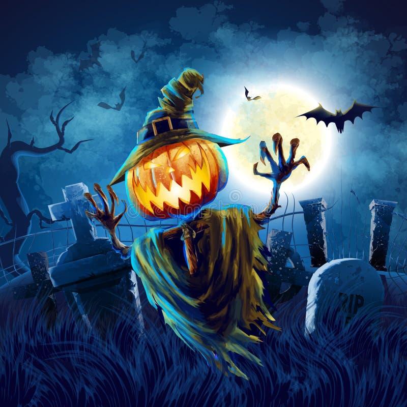 Halloween-begraafplaats royalty-vrije illustratie
