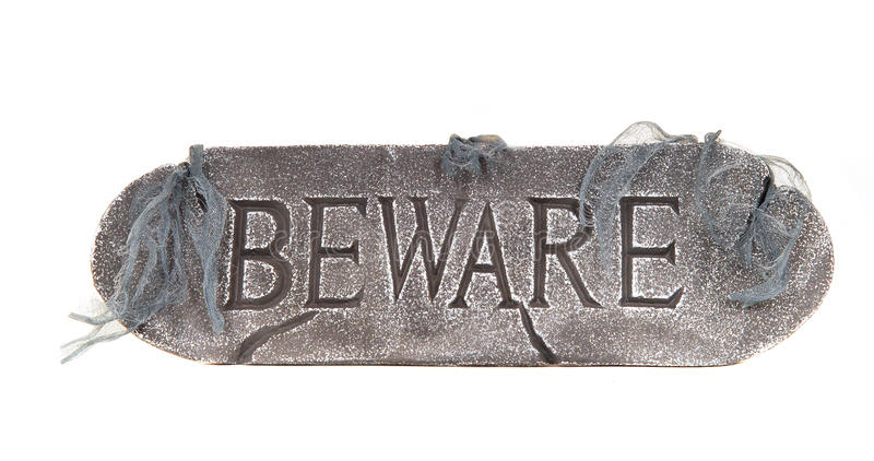 Halloween Beware sign royalty free stock images