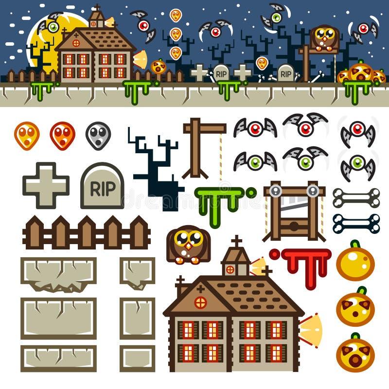 Halloween bij het niveauuitrusting van het nacht vlakke spel royalty-vrije illustratie