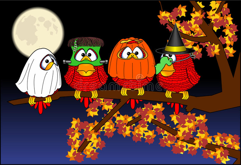 Halloween_birds ilustração royalty free