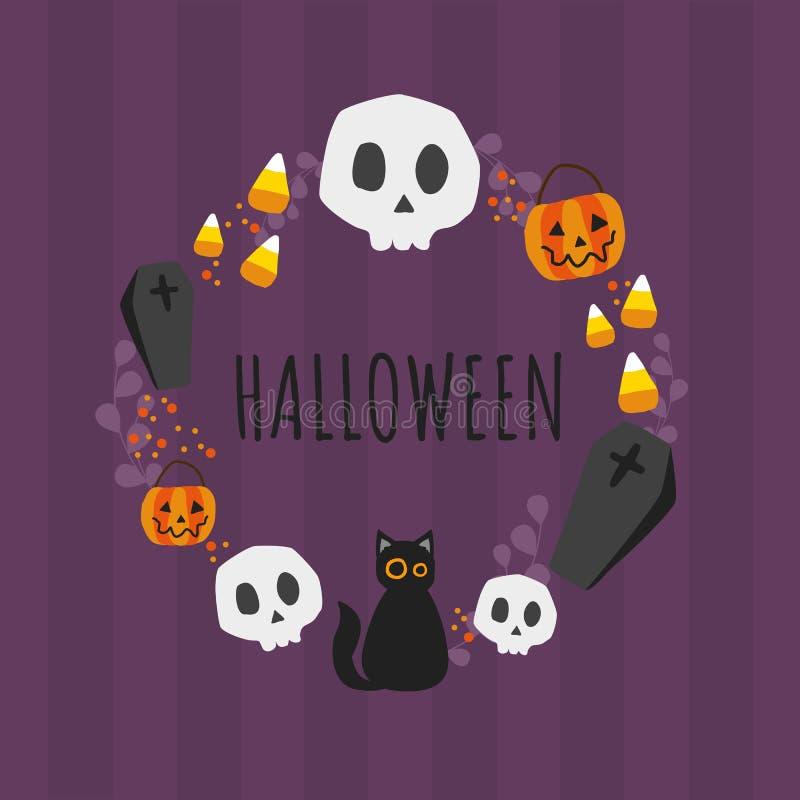 Halloween black cat pumpkin and skull wreath on purple background vector illustration