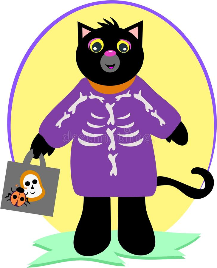 Download Halloween Black Cat With Skeleton Costume Stock Vector - Illustration of grass animal  sc 1 st  Dreamstime.com & Halloween Black Cat With Skeleton Costume Stock Vector ...