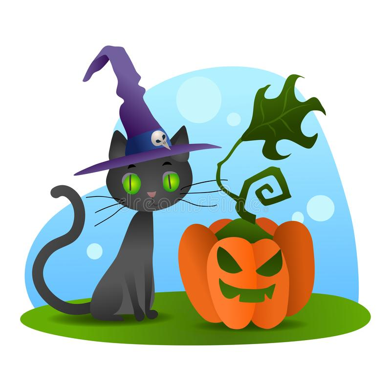 Halloween black cat in witch hat sitting with evil pumpkin vector illustration