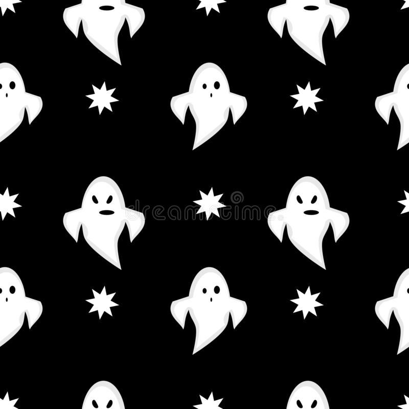 Halloween Black and White Seamless Background with Cartoon Ghosts vector illustration