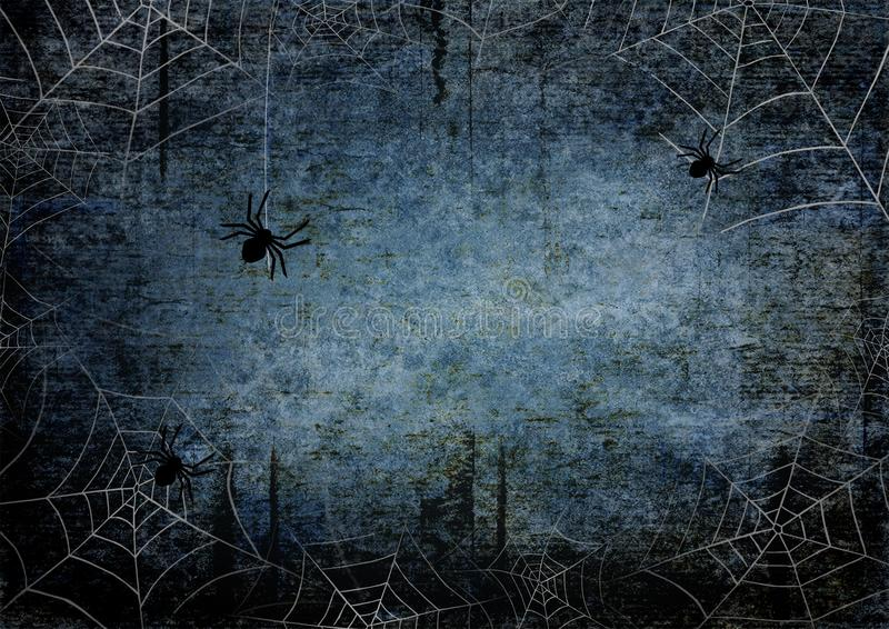 Halloween blue navy gray grunge background with silhouettes of spider webs. Halloween blue navy gray grunge background with silhouettes of spiders and webs on stock illustration