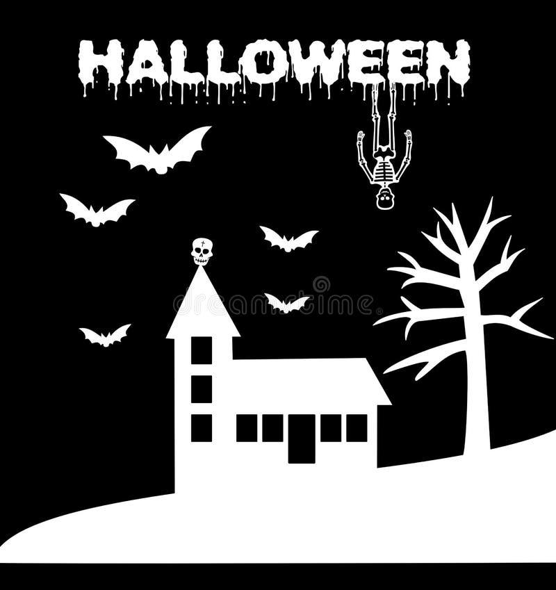 Halloween blutig mit frequentierter Kirche lizenzfreie abbildung
