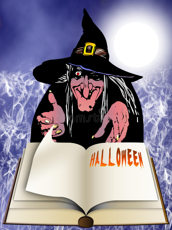 Halloween book and witch stock photography