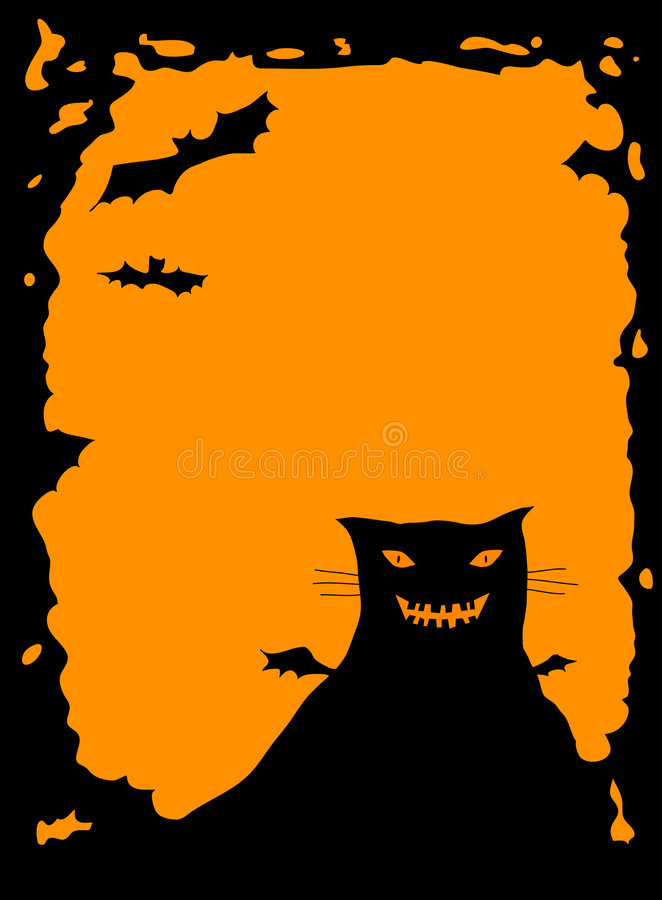 Download Halloween border with cat stock illustration. Image of eyes - 1409518