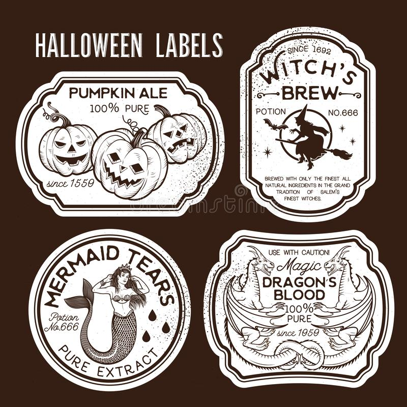 photograph relating to Free Printable Halloween Poison Bottle Labels titled Halloween Bottle Labels inventory vector. Instance of