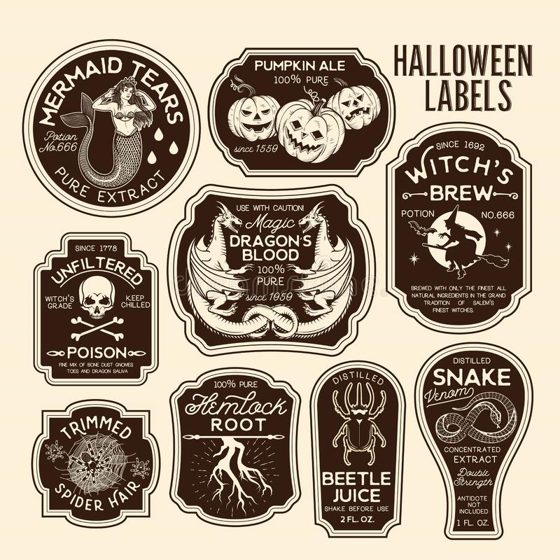 Free Halloween Bottle Labels Potion Labels. Vector Illustration. Stock Photography - 127059442