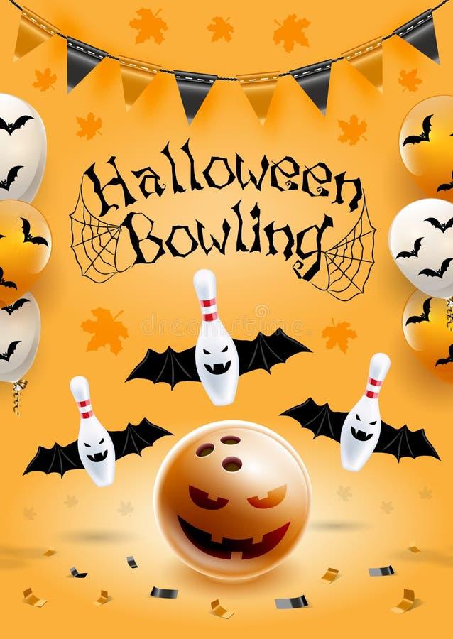 Halloween-Bowlingspielfliegerschablone Größe des Formats A6 Vektorclipartillustration stock abbildung
