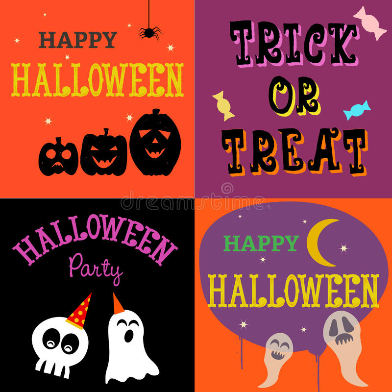4 Halloween boxes royalty free stock images