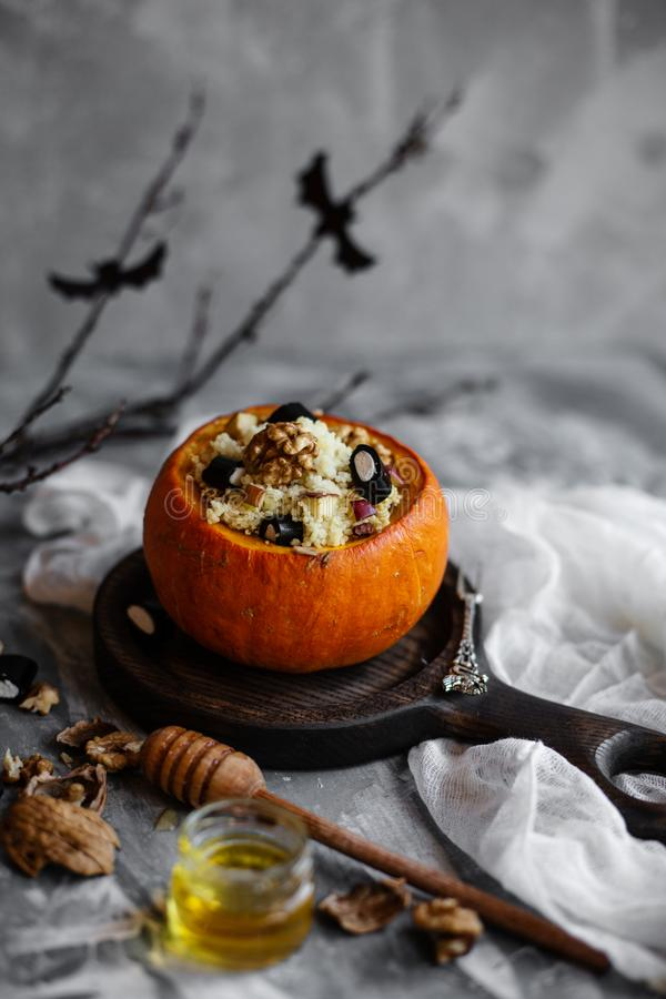 Halloween breakfast decorated with branch and bats stock image