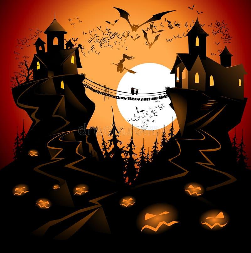 Halloween bridge stock illustration