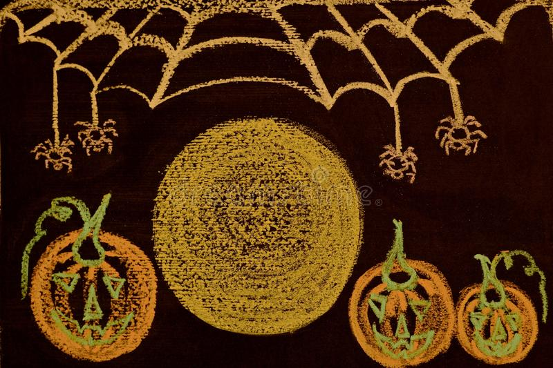 Full moon on Halloween night, Jack mask, spider web and spiders on a black background royalty free stock photos