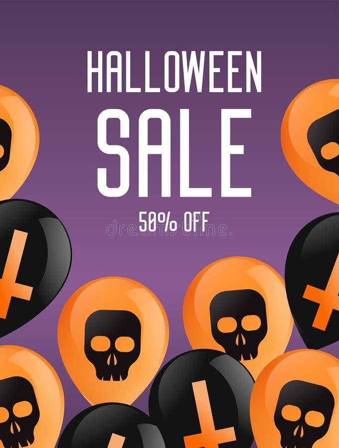 Halloween-Broschürenfahne Purpurroter Hintergrund mit Ballonen, mit Kreuzen und den Schädeln Verkauf 50 Prozent stock abbildung