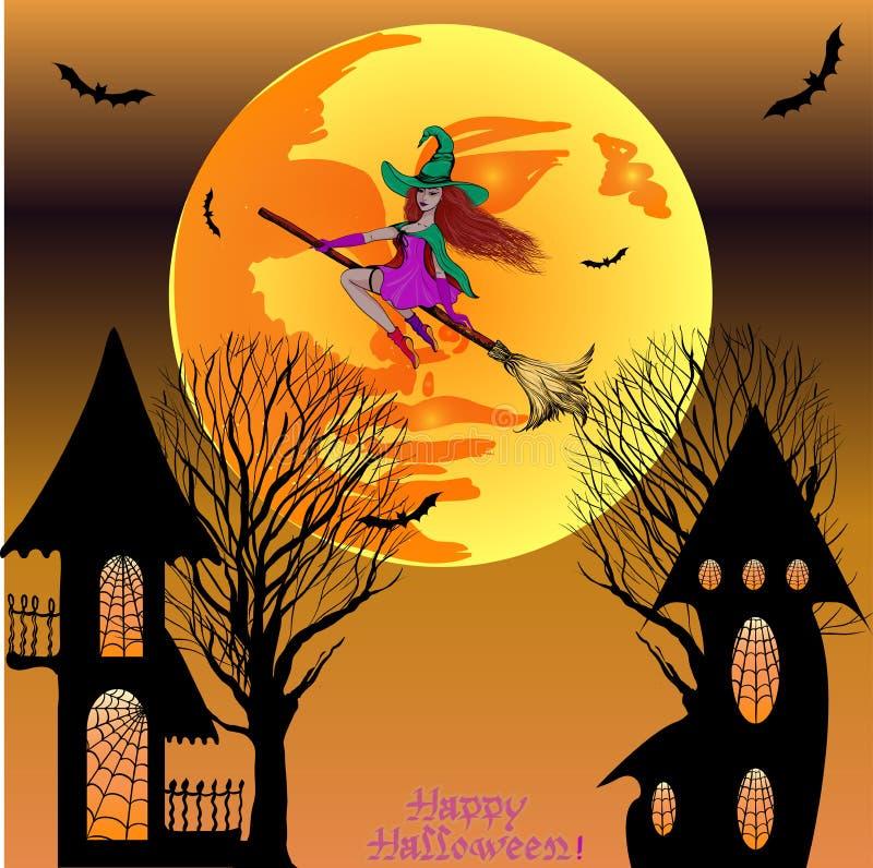 Halloween A bruxa voa em um cabo de vassoura em um chapéu O tema do feriado é Dia das Bruxas ilustração royalty free