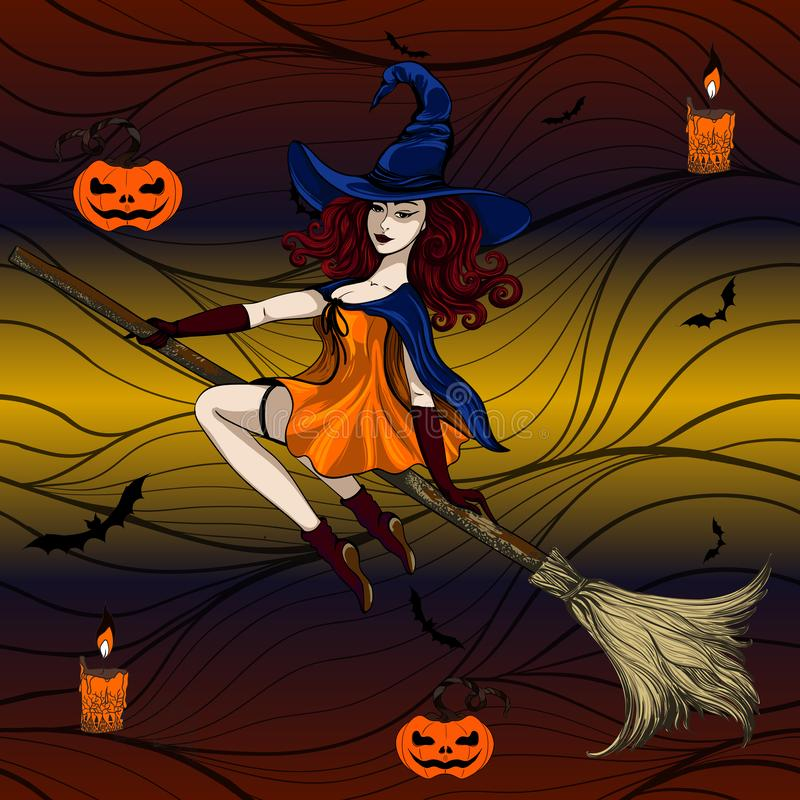 Halloween A bruxa voa em um cabo de vassoura em um chapéu O tema do feriado é Dia das Bruxas Use materiais impressos, sinais, art ilustração royalty free