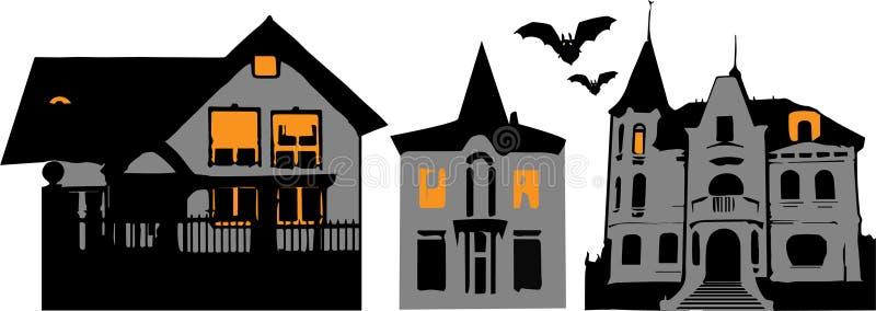 Halloween buildings vector set stock illustration