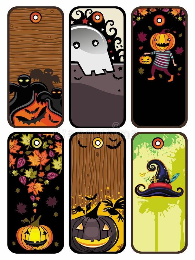 Halloween-bunte Marken stock abbildung