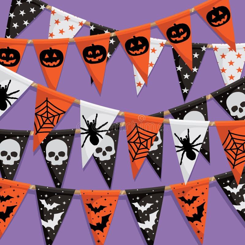 Halloween buntingbakgrund vektor illustrationer