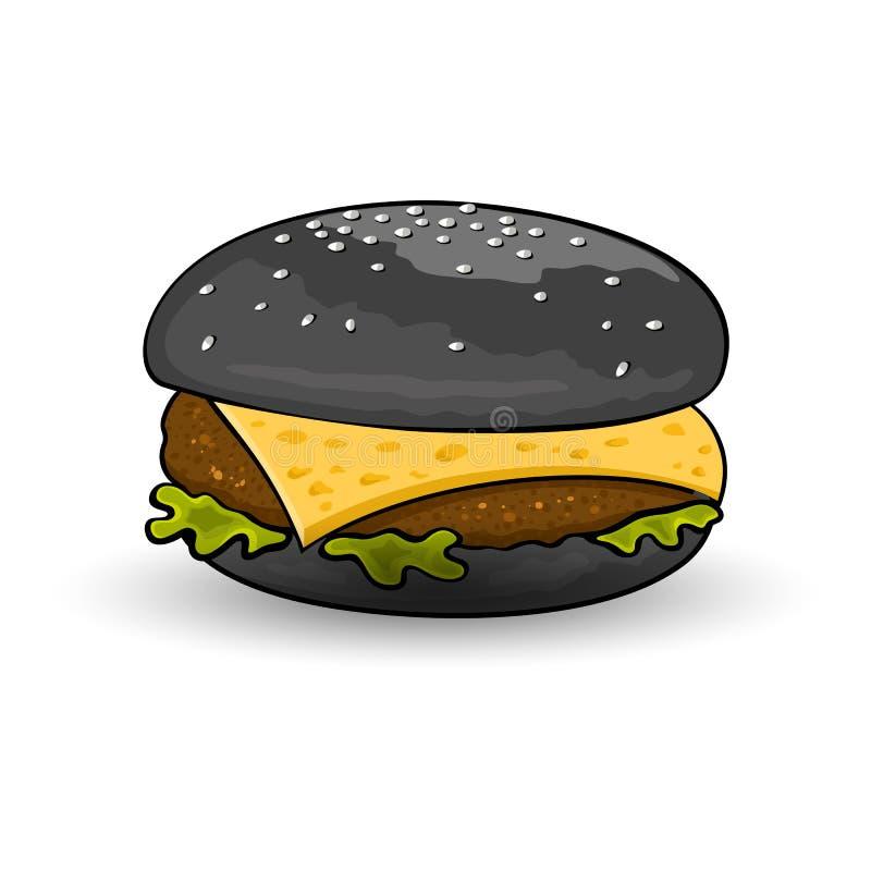 Halloween burger. Black cheeseburger with beef patty, cheese, lettuce, sauce, mustard. stock illustration