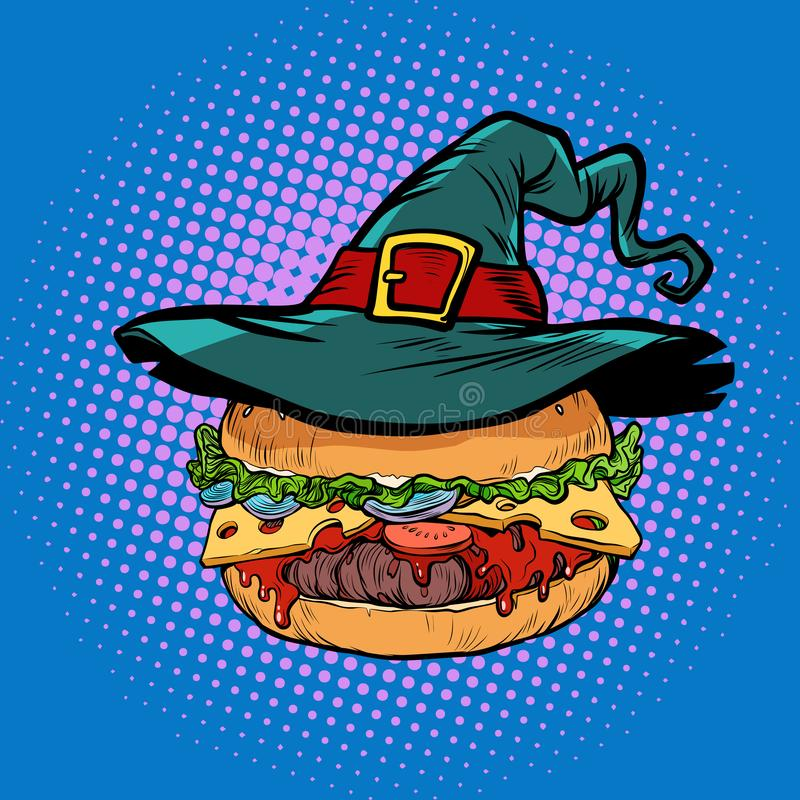 Halloween Burger, fast food holiday vector illustration
