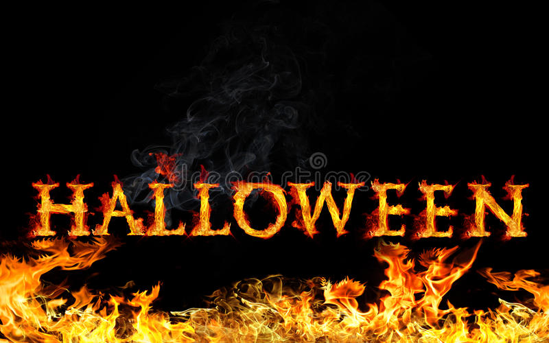 Halloween. Burning Halloween text and fire on black background stock illustration