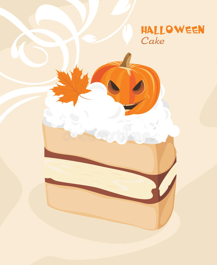 Halloween cake on the decorative background stock image