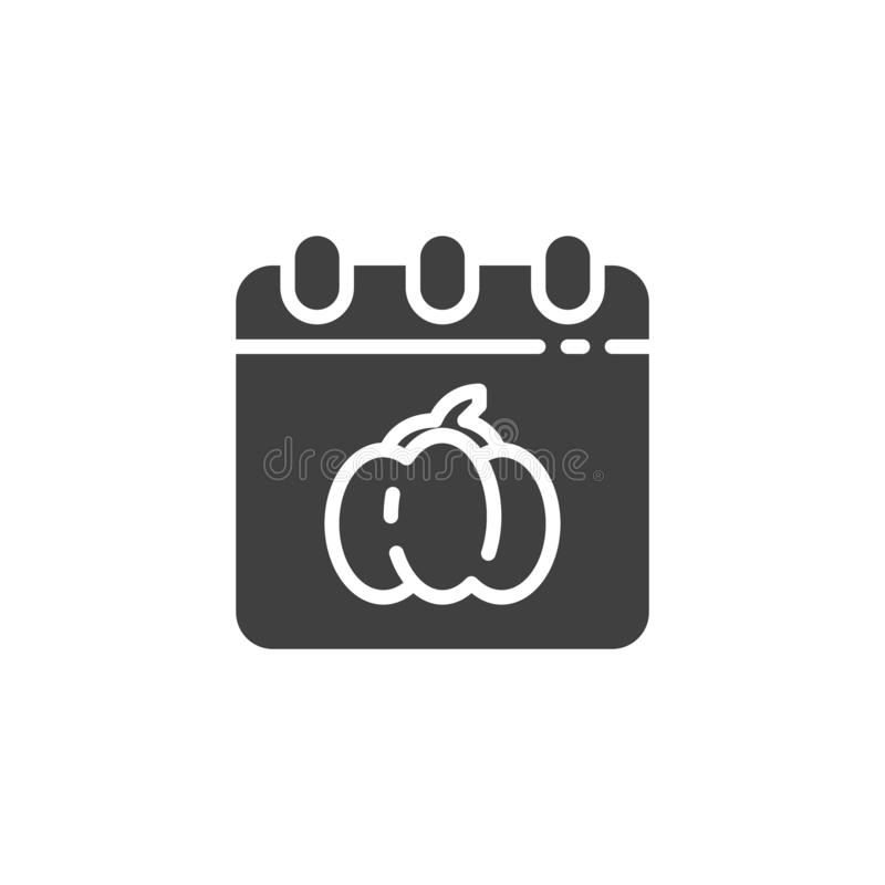 Halloween calendar page vector icon. Filled flat sign for mobile concept and web design. Calendar with Halloween pumpkin glyph icon. Symbol, logo illustration vector illustration