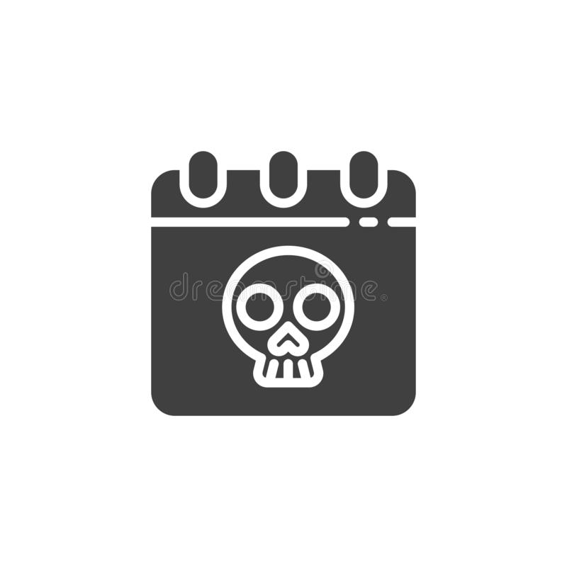 Halloween calendar vector icon. Filled flat sign for mobile concept and web design. Calendar with skull glyph icon. Symbol, logo illustration. Vector graphics vector illustration