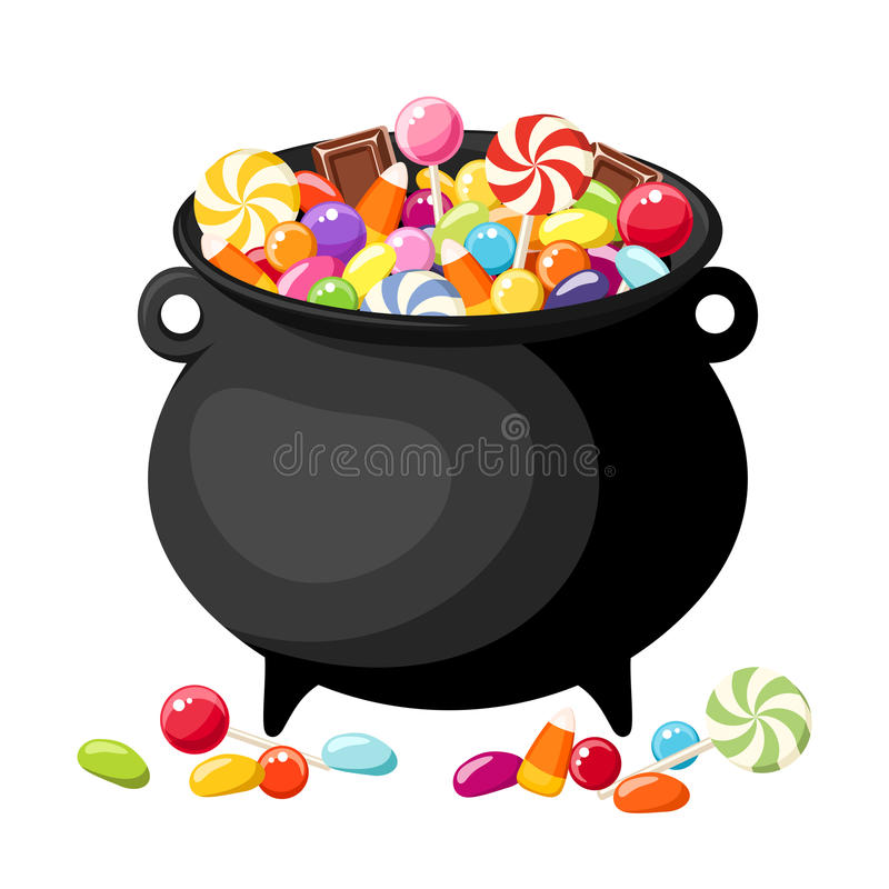 Halloween candies in witches cauldron. stock illustration