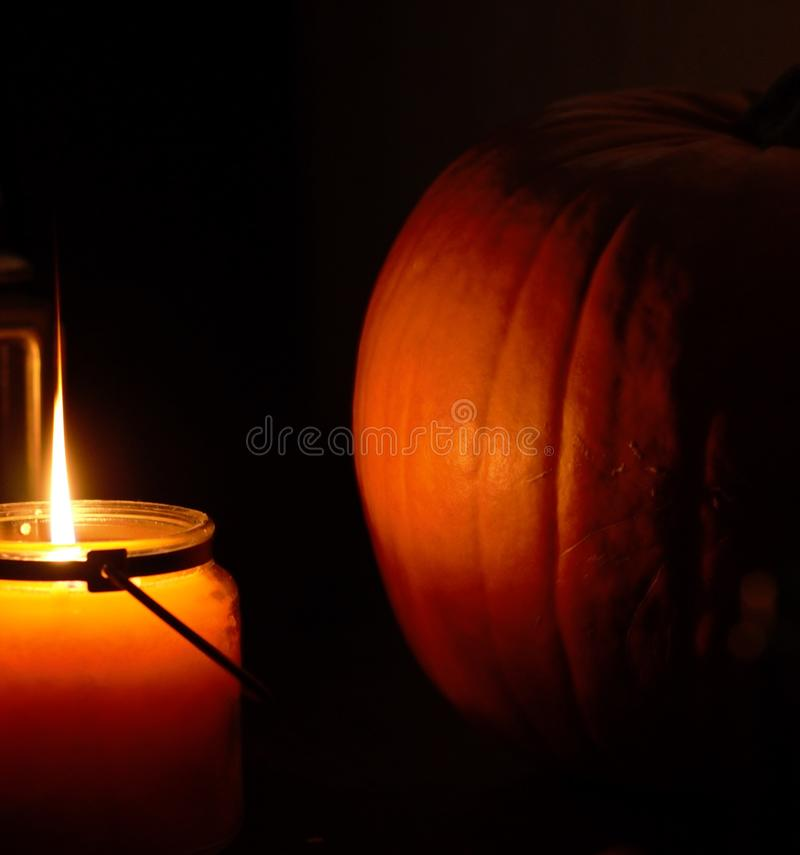 Halloween Candle & Pumpkin royalty free stock photography