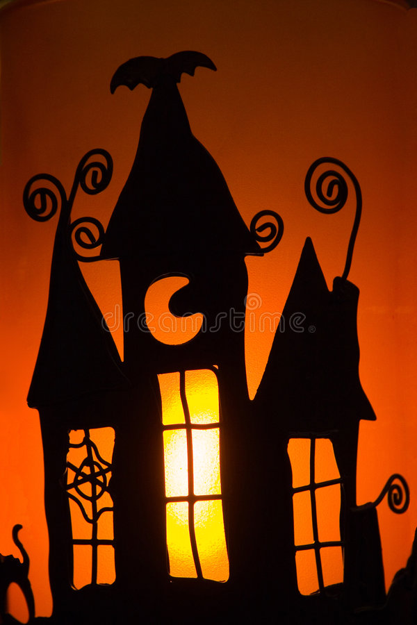 Halloween candle shadow stock photography