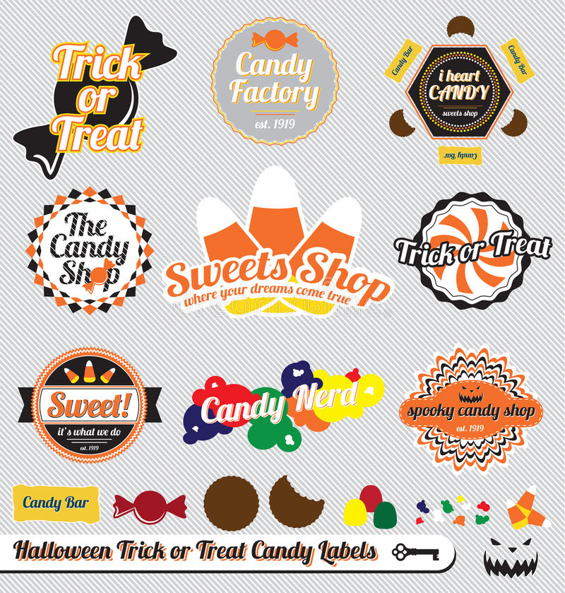 Download Halloween Candy Labels And Stickers Stock Vector - Illustration: 27083229