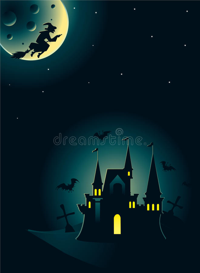 Download Halloween Card With Castle And Witch Stock Vector - Image: 11186466